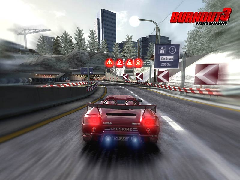 Racing on Alpine in Burnout 3 Takedown